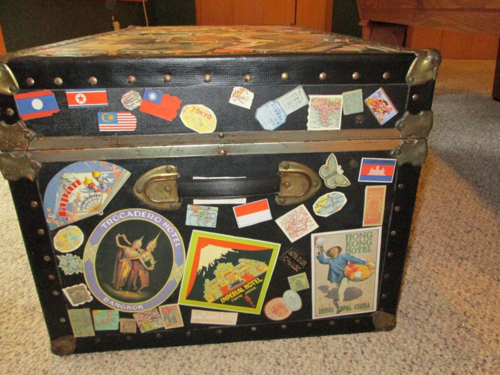 Decoupaged travel trunk
