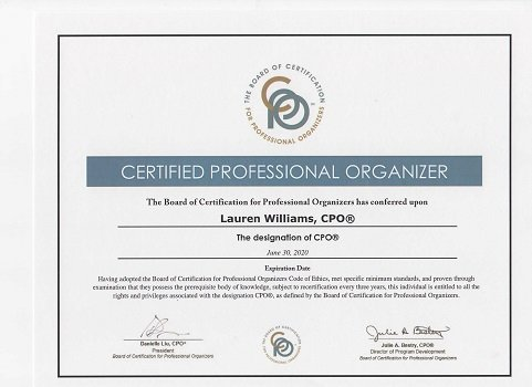 Certified Professional Organizer Certificate