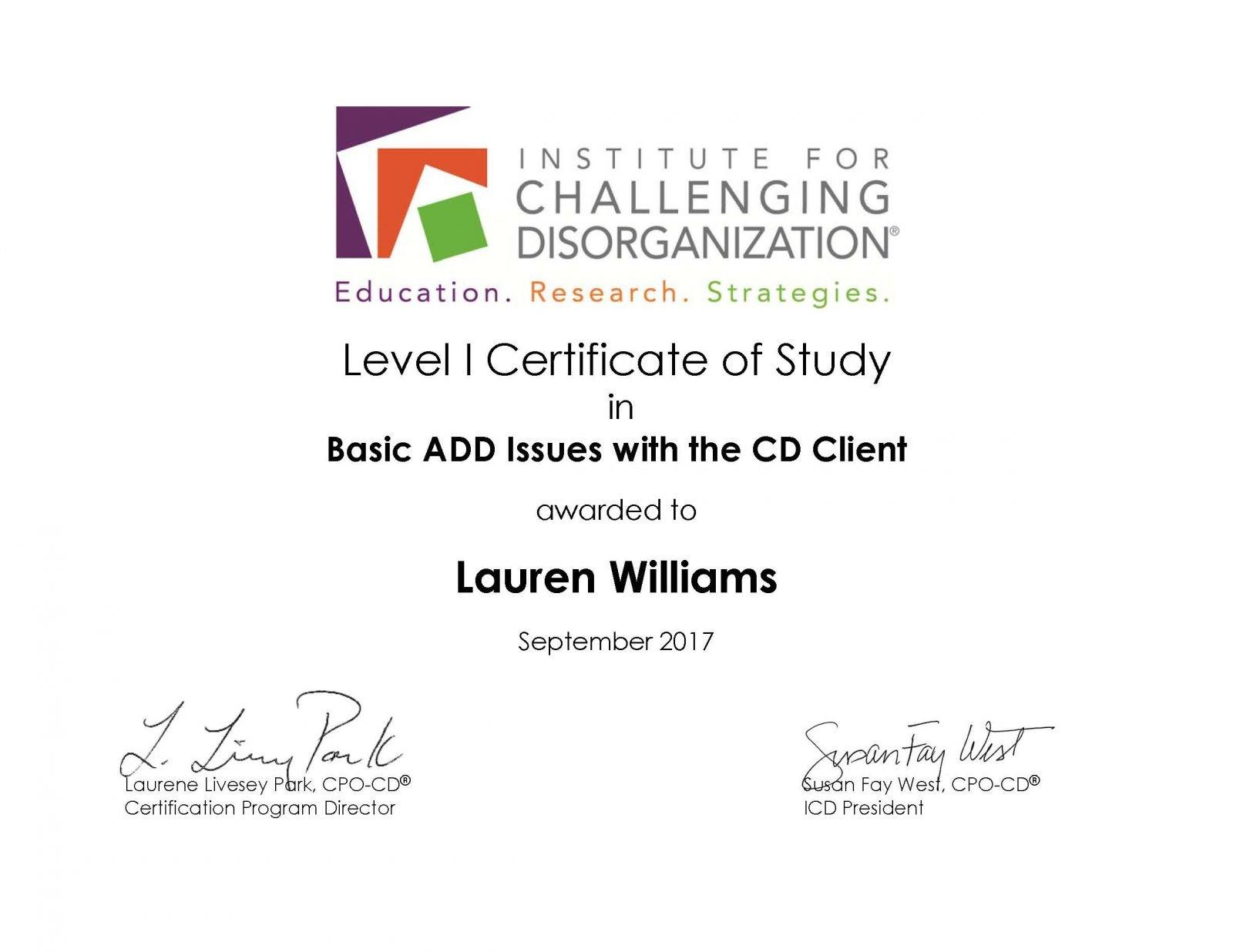 Level 1 Certificate Basic ADD in CD Client