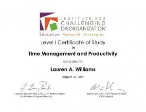 Casual Uncluttering ICD Level I Certificate of Study Time Management and Productivity